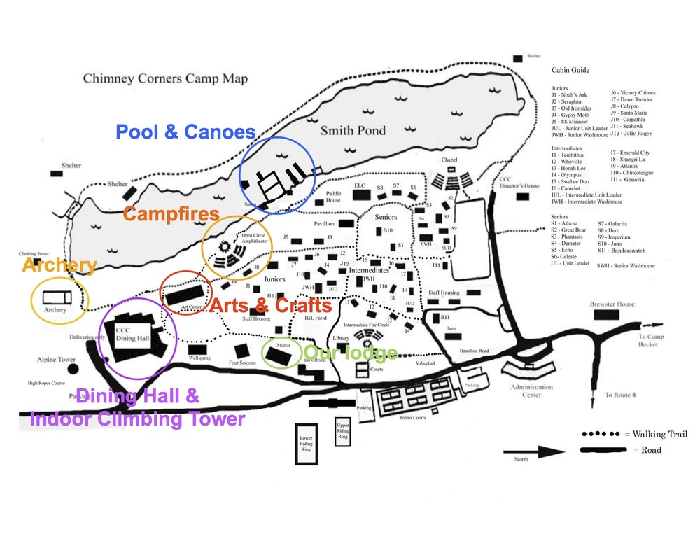 Campus Map with our most common locations highlighted (click to enlarge)