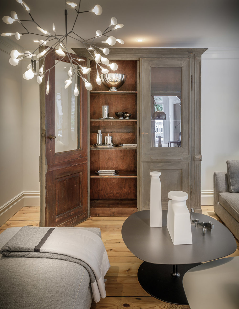Antique Cabinet With Georg Jensen Collection In The Main Living Room On The  First Floor.
