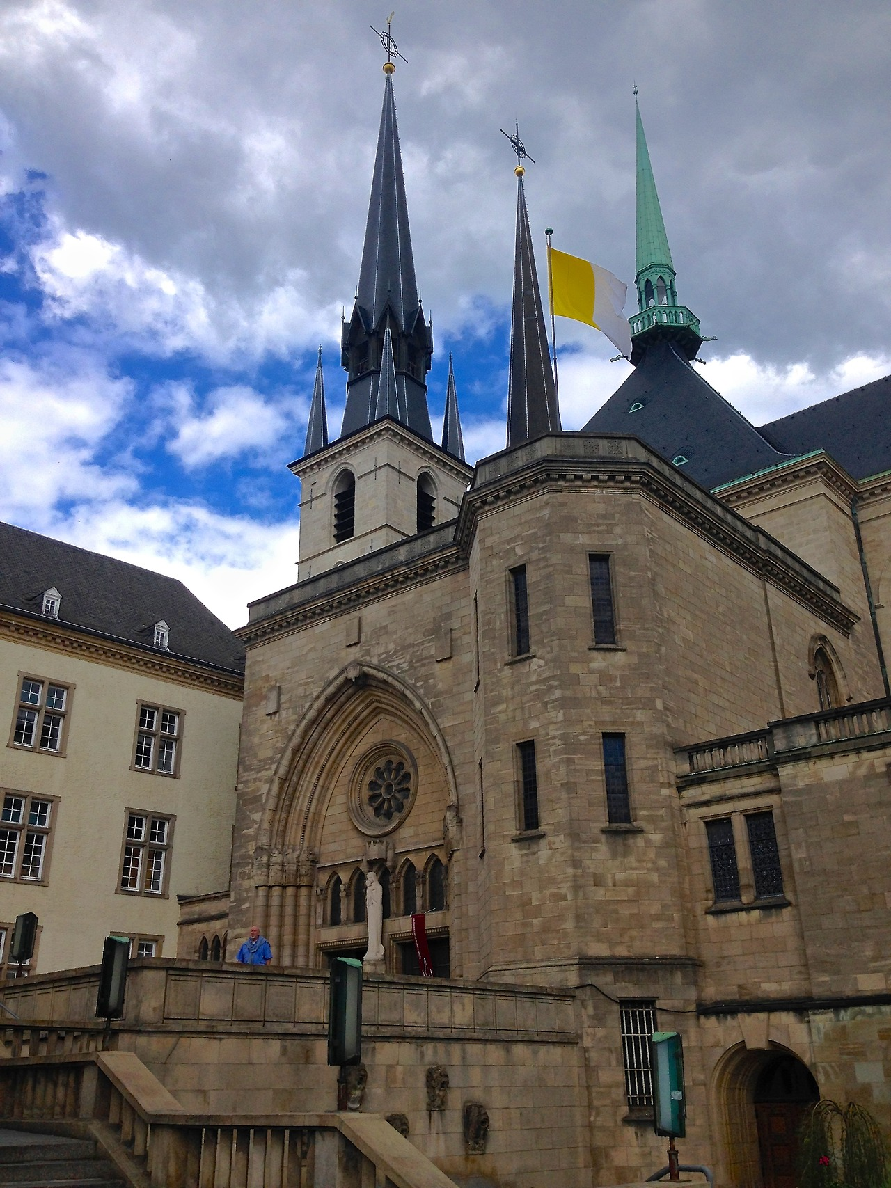 mysafiri :      Cathedral, Luxembourg City, Luxembourg    Man oh man, what an adventure this has been! We left our hostel in Brussels in the mid-afternoon and headed to the train station to hop on the road to Paris—and we could hardly contain our excitement. But when we arrived at the platform we were informed that due to huge scale protests and strikes in the public transportation sector, we would need to buy a seventy euro reservation to get on the train, and that it was now too late to do that. Eyes glistening, we saw our train pull out from the station and leave us in the dust. But, in the true spirit of wanderlust, we found the next available train and decided to hop on and see where we wound up. And so we arrived in Luxembourg that night! We stayed at an adorable little restaurant turned hotel, called La Veranda, which was about a fifteen-minute walk to the train station, and maybe twenty minutes to the city center. They had delicious (and free!) breakfast in the morning, and given that the restaurant was directly below us, we were never left wanting for a bite to eat. I honestly couldn't tell you all the things we saw and did in Luxembourg, but we passed two days walking through town, relaxing, and going to see tons of churches, old buildings, and eating ice cream! Two days later we were finally able to get on a train to Paris, and off we went!                  For more information about the protests and strikes spreading across Europe, check out my article for The Odyssey Online at:  http://theodysseyonline.com/uva/uber-app-has-europe-uber-worried/60427