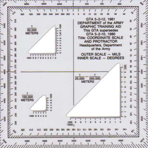 US Army Graphische Schablone Coordinate Scale and Protractor Piloten Infantry
