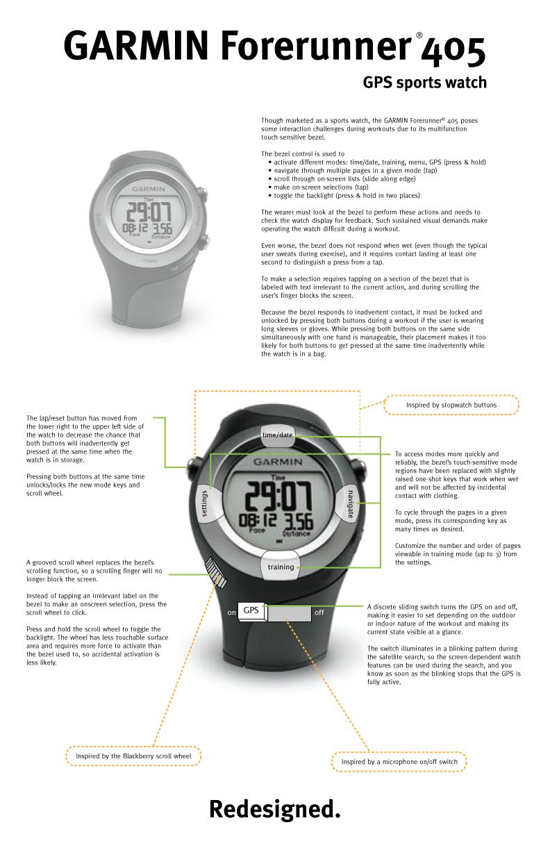 Garmin GPS watch redesign