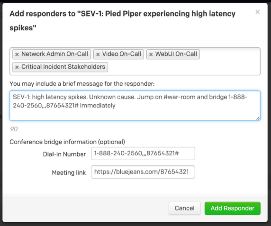 Dialog to add responders to an existing incident