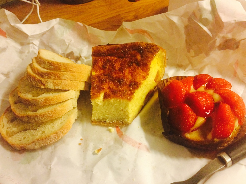 My last dinner - a baguette, quiche, and fruit tartlete