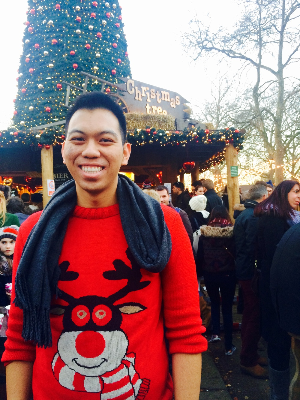 In my Christmas jumper at Winter Wonderland at Hyde Park, London