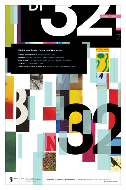 2010 DESIGN INTERACTION POSTER  Auburn University Department of Industrial + Graphic Design // design + collage