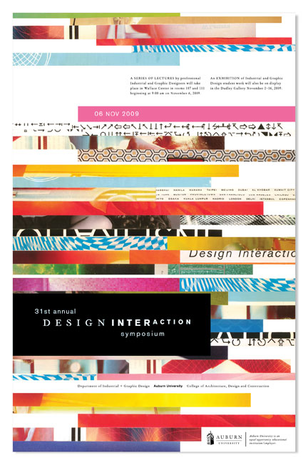 2009 DESIGN INTERACTION POSTER  Auburn University Department of Industrial + Graphic Design // design + collage