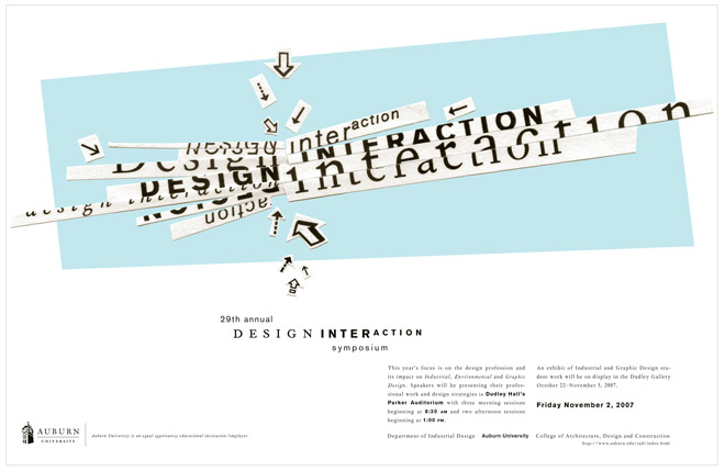 2007 DESIGN INTERACTION POSTER  Auburn University Department of Industrial + Graphic Design // design + collage