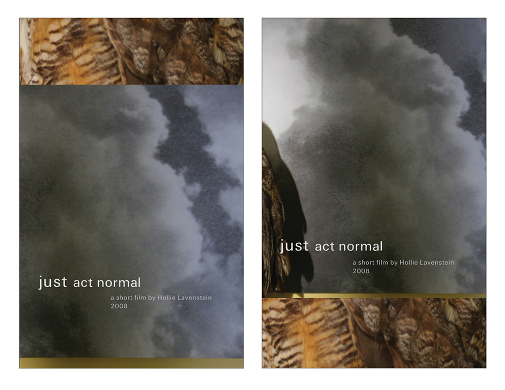 JUST ACT NORMAL   by Hollie Lavenstein // Poster for the short film // design