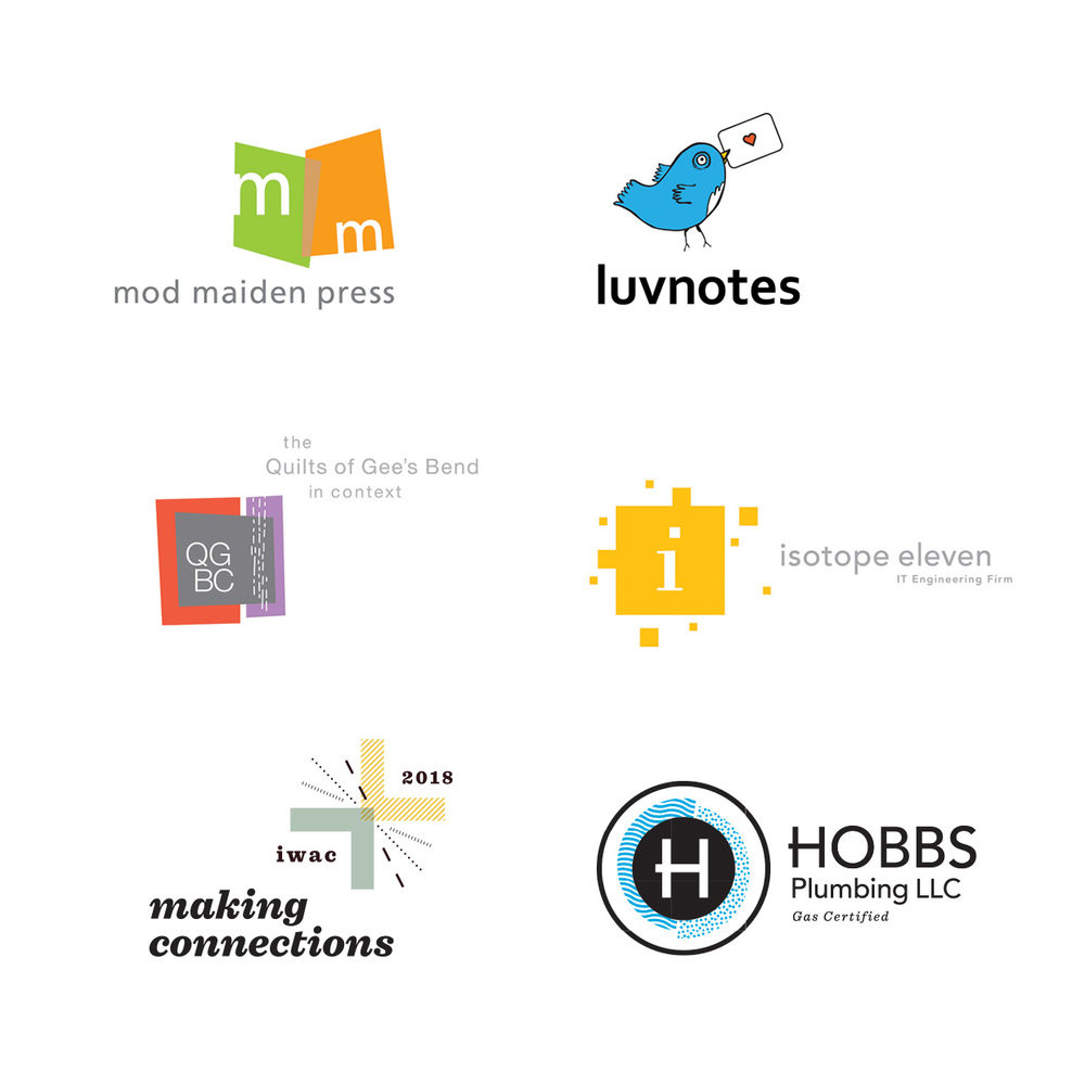 VARIOUS LOGO DESIGNS  Mod Maiden Press //  artist books  Luvnotes //  facebook app  the Quilts of Gees Bend in Context //  gallery exhibition  Isotope Eleven //  IT company  Making Connections //  2018 International Writing Across the Curriculum conference  Hobbs Plumbing //  gas + water certified