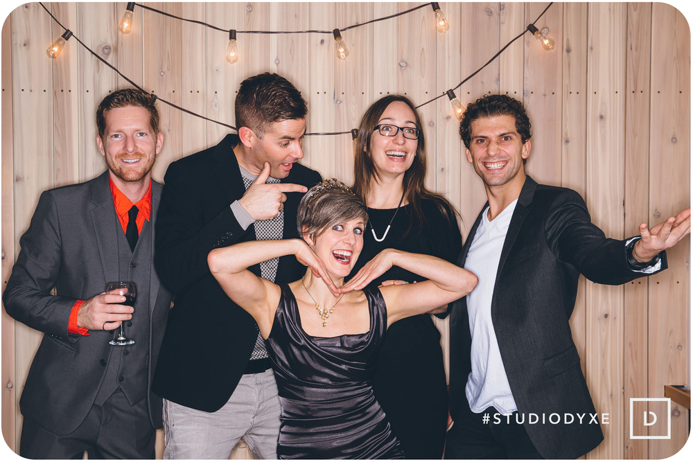 """(Almost) all of us at our community's Christmas Party at The Two Twenty. It was off the hook! Left to right: Jeff Nattress, Curtis Olson, Crystal Bueckert, René Prefontaine Front: Shannon """"Goldstar"""" Richards. Partying from afar: Carrie Catherine"""