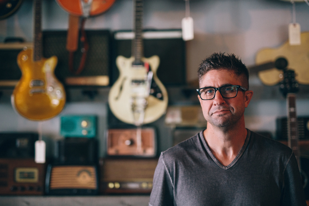 Owner and founder of Village Guitar & Amp, Dan Canfield.   Photo Studio D