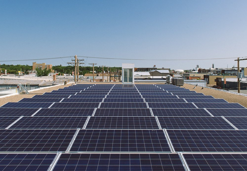 The Two Twenty features 95 solar panels on both the roof and front awning. It was the very first project of the SES Solar Co-op, and remains Saskatoon's second largest solar array.