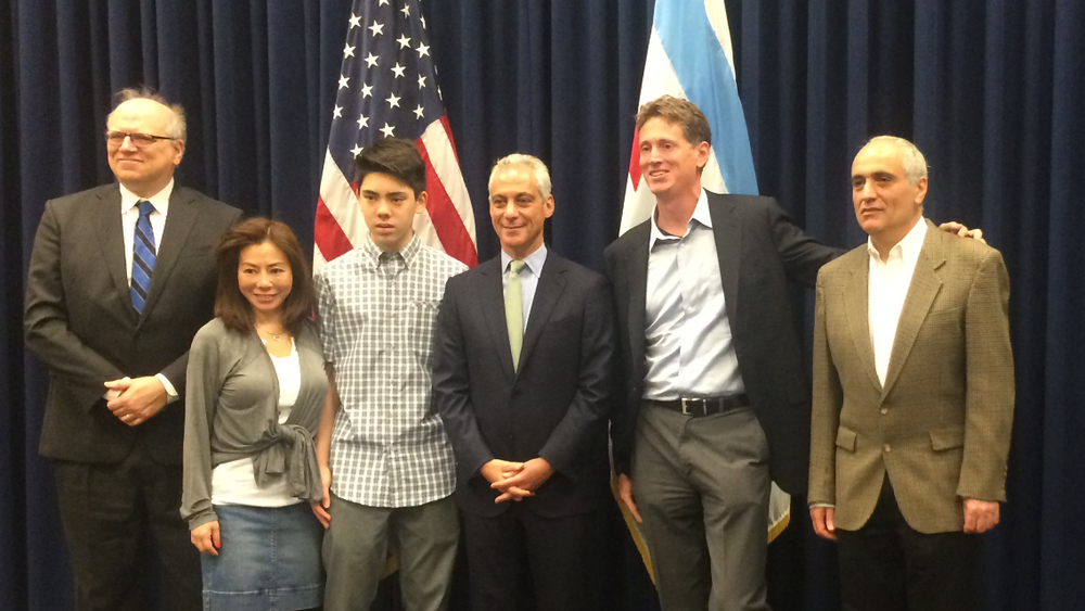 From left: Bill Brock, Jennifer Stevens, Matt Stevens, Mayor Rahm Emanuel, Jon Winick, Dmitry Gurevich