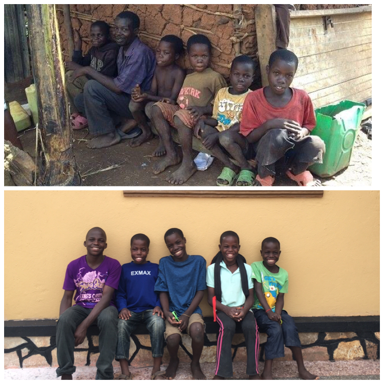 The Kigongo boys in January 2014 and in June 2016 in front of their new home.