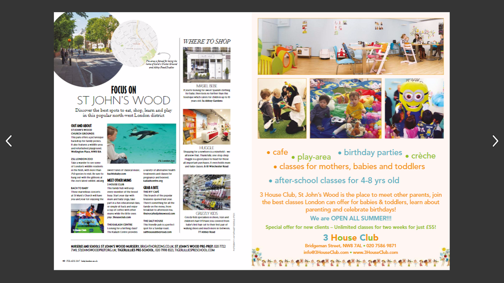 Baby London Magazine recommends us as the place for families in St. John's Wood