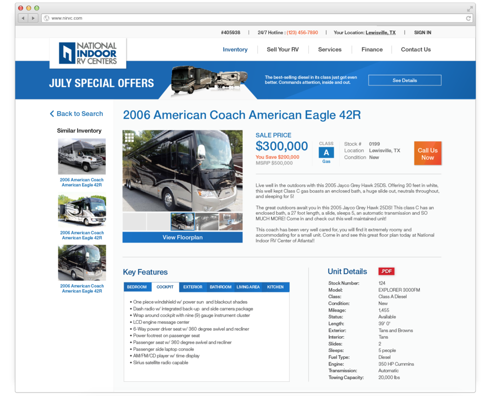 Single-listing page where you see the details of selected RV
