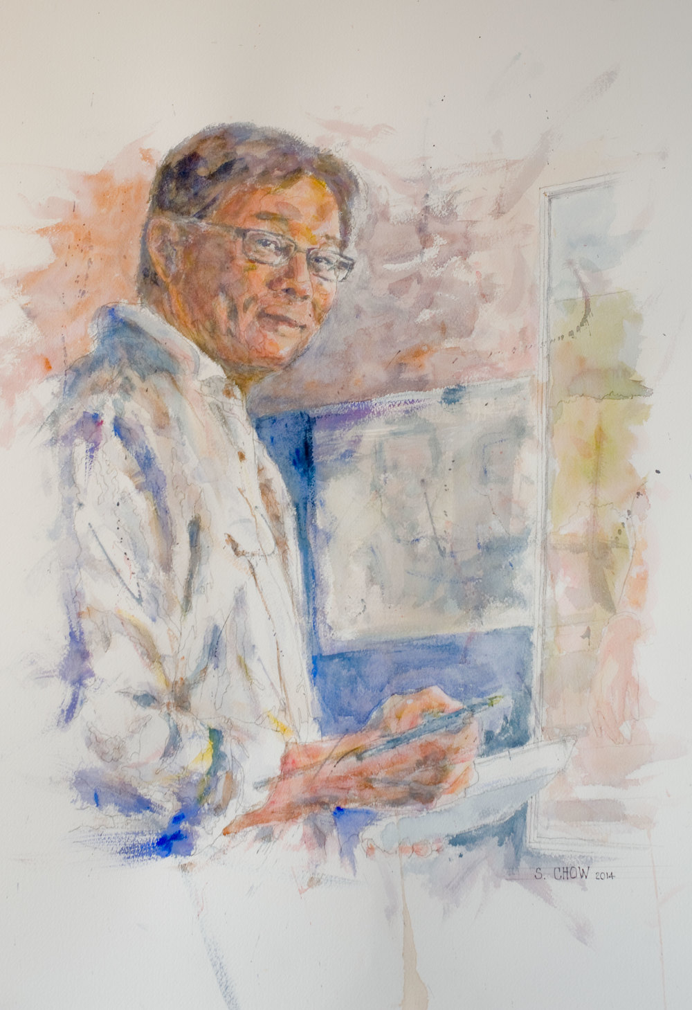 self portrait watercolour