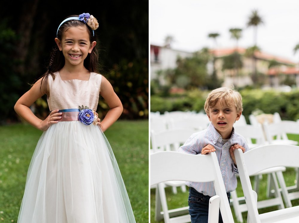 santa barbara courthouse sunken gardens wedding ceremony flower girl