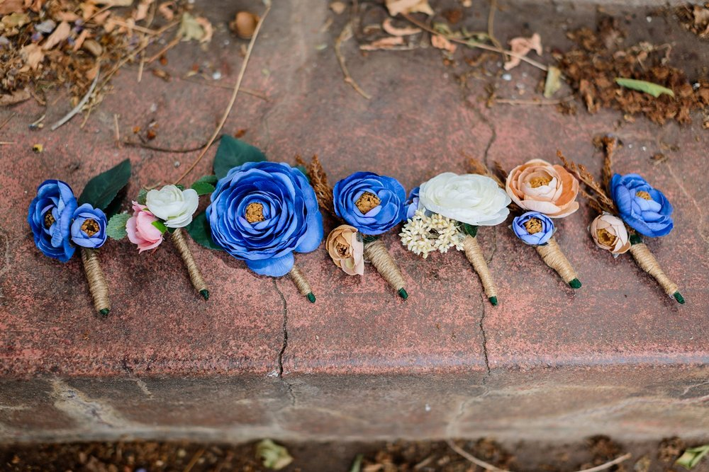 blue fabric flower boutonniere at santa barbara courthouse wedding