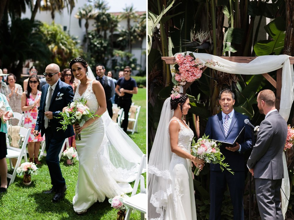 bride walking down aisle sunken garden santa barbara courthouse wedding