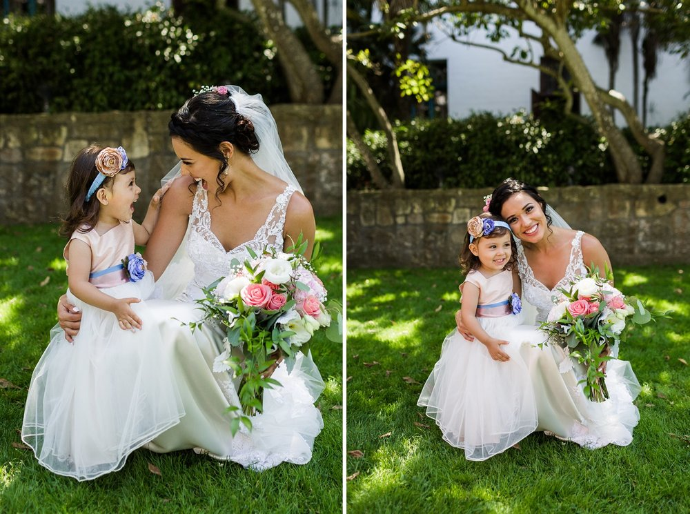 bride with flower girl at santa barbara courthouse wedding