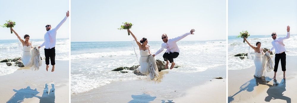 bride and groom jumping beach wedding