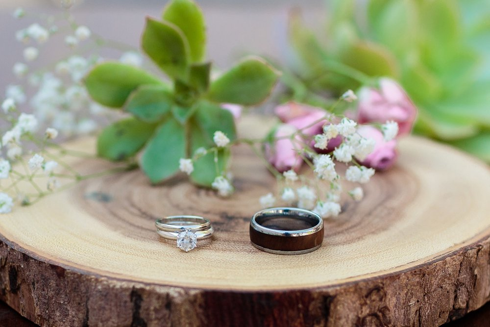 wedding rings and succulents at santa barbara wedding