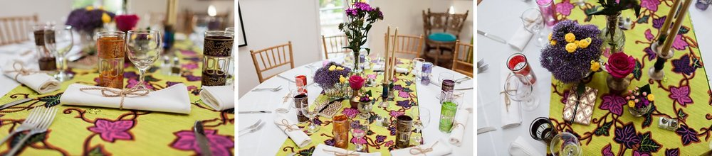 wedding reception table details dandelions and flowers