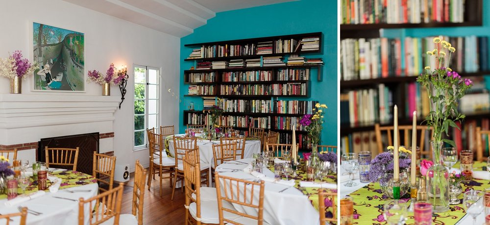 floor to ceiling bookshelf at los angeles wedding reception