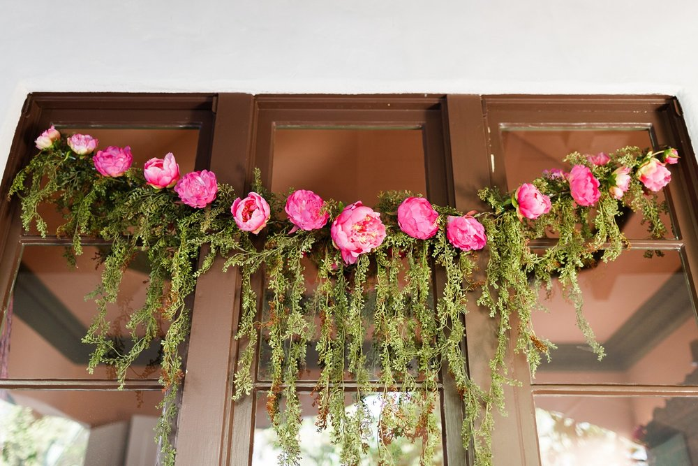 pink flower wreath wedding decoration los angeles