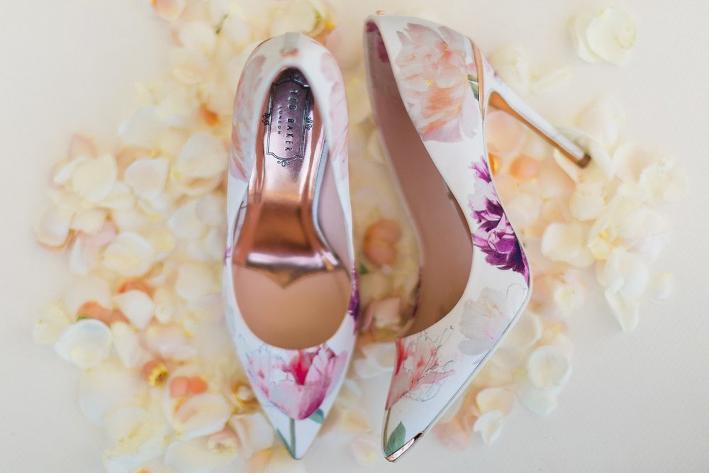 ted baker floral bridal shoes at santa barbara wedding