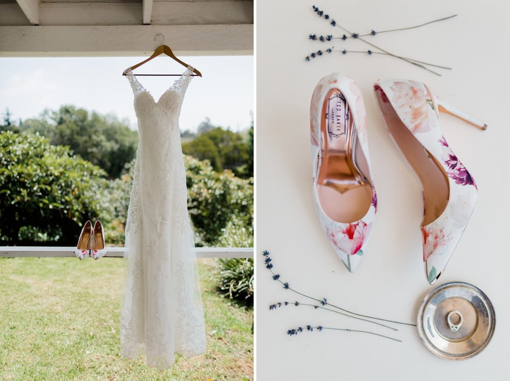wedding dress and ted baker floral bridal pumps