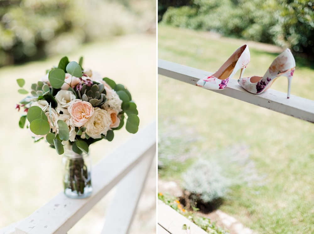 succulent bridal bouquet and ted baker flower shoes