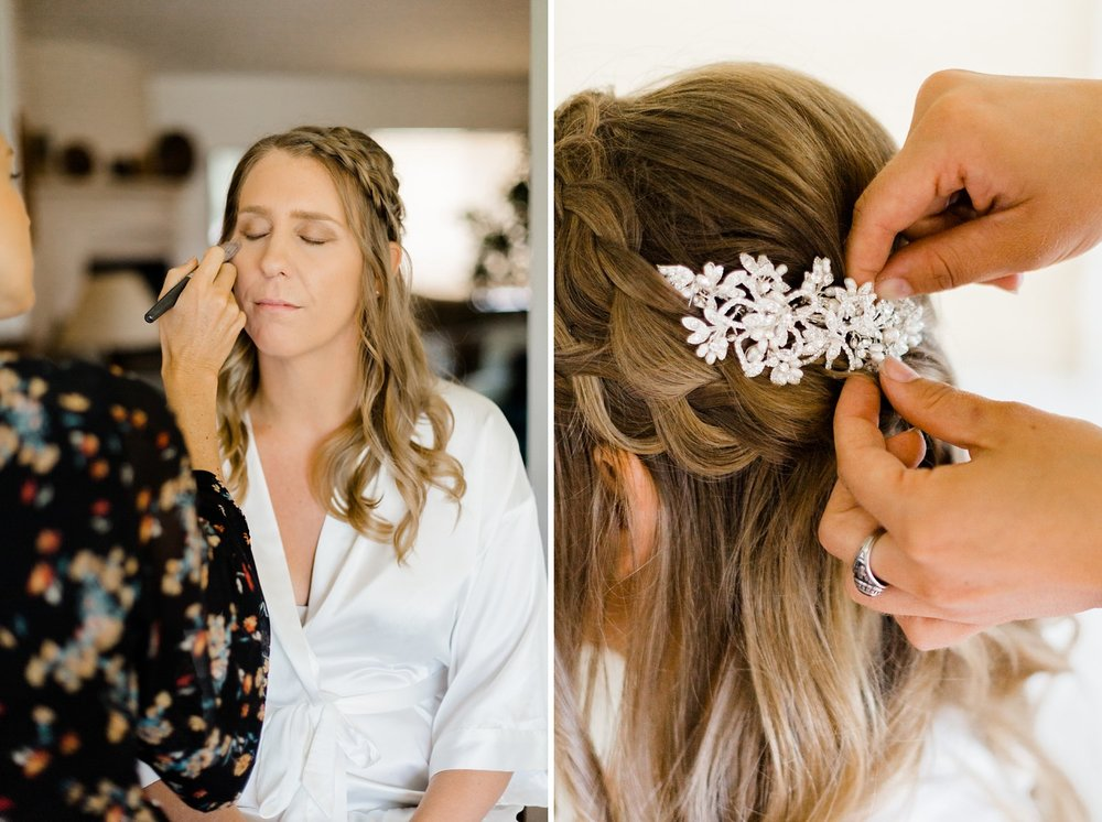 bride getting ready for rancho dos pueblos wedding in santa barbara