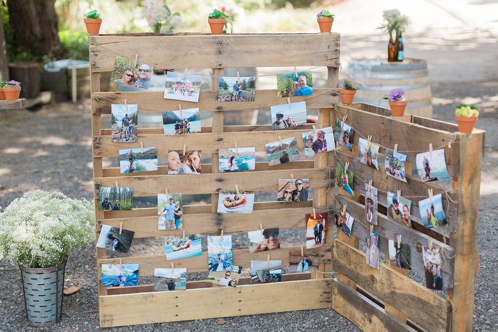 diy pallet photo board for santa barbara wedding