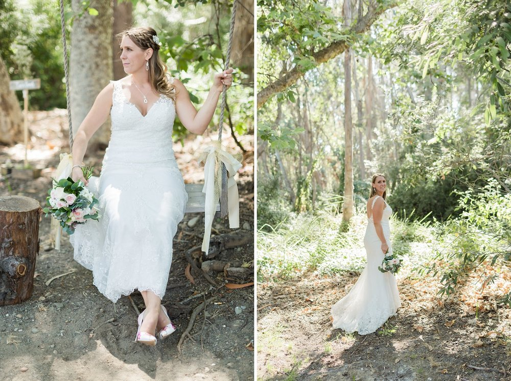 bride on a swing at rancho dos pueblos