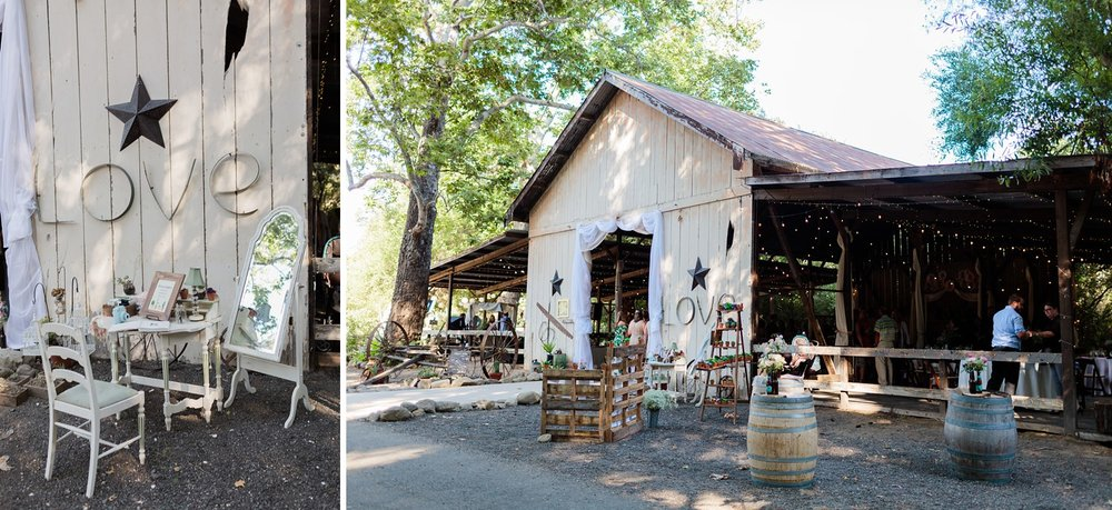 wedding reception in barn at rancho dos pueblos