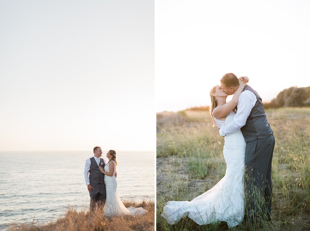 beach cliff sunset wedding photos santa barbara