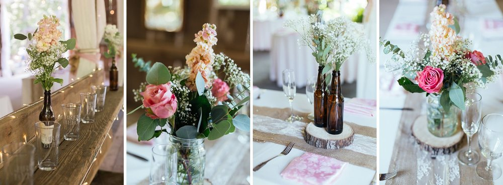 roses in diy beer bottle and mason jar vases