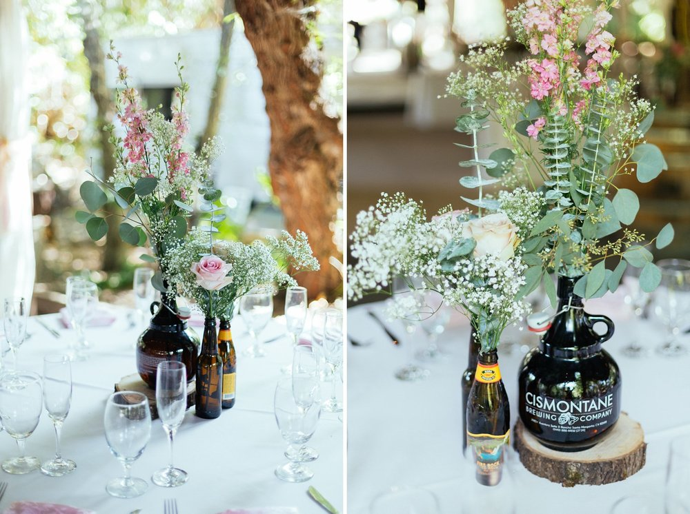 beer growler vases at santa barbara wedding reception