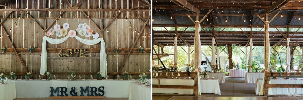 wedding reception head table in barn
