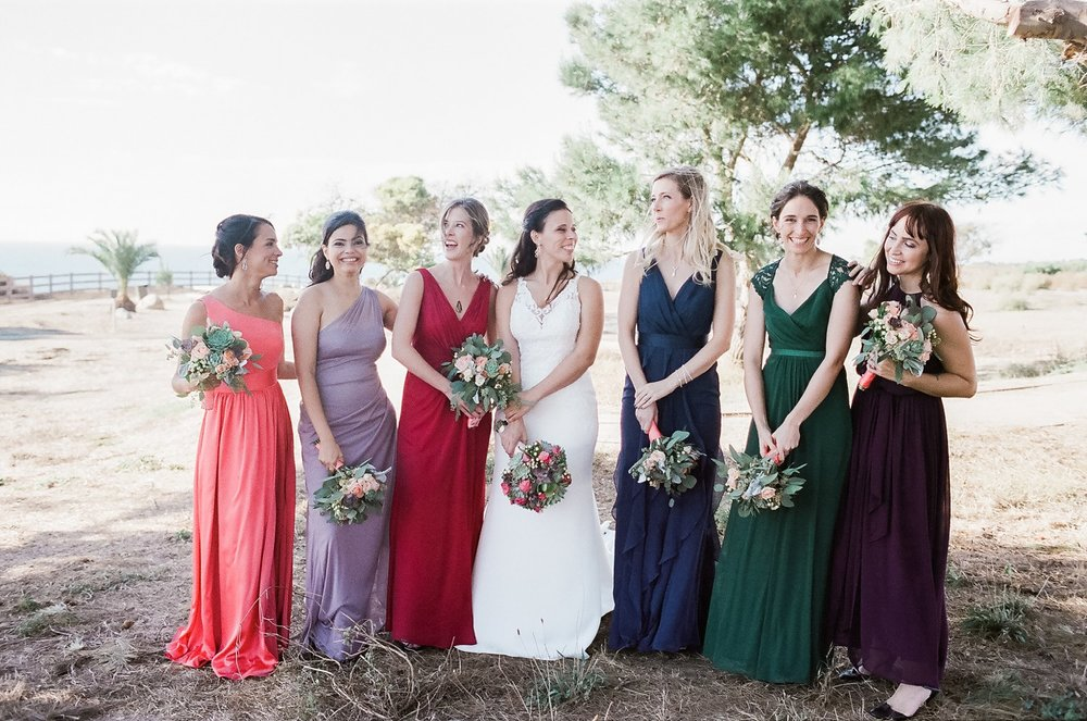 bridal party at point vicente wedding