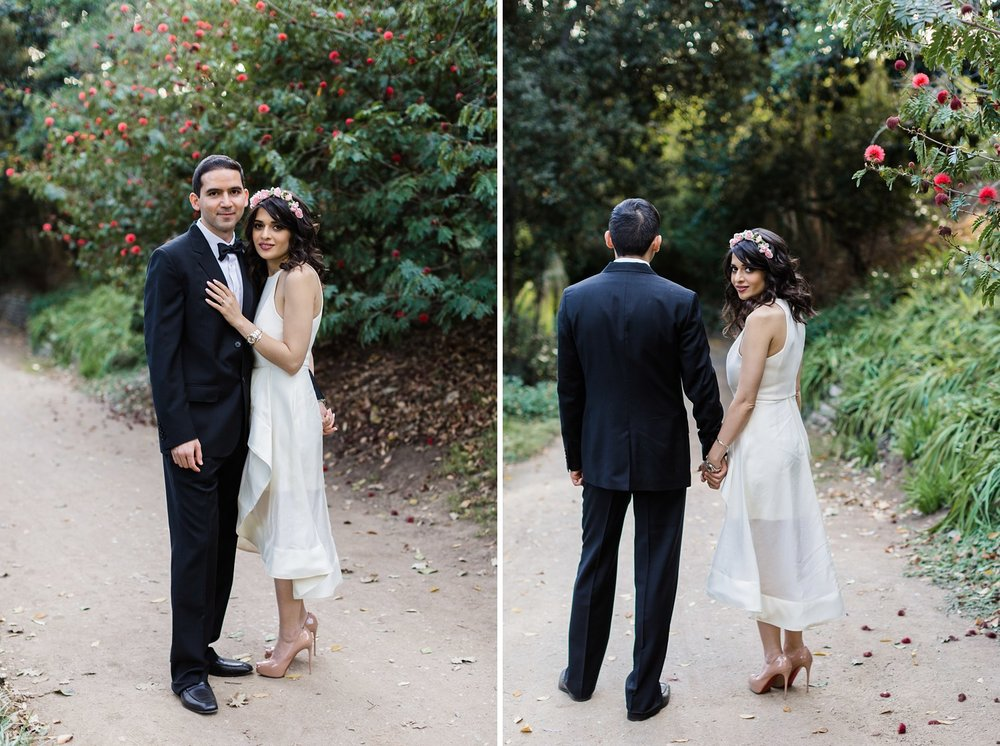 bride and groom wedding in botanical garden los angeles
