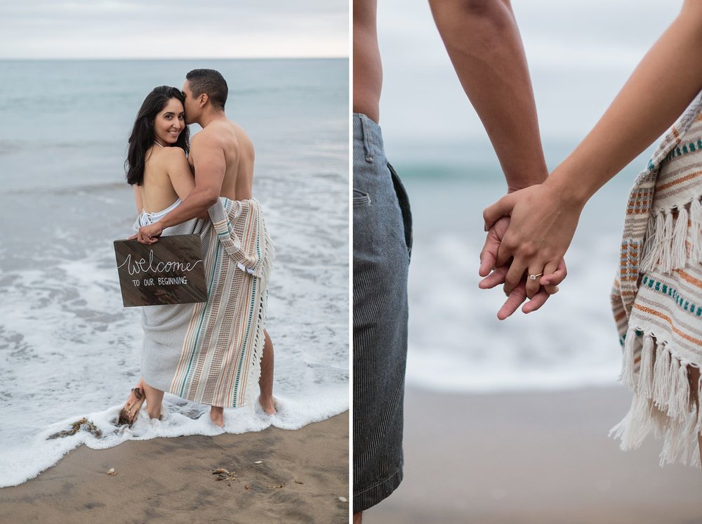 couple holding hands at the los angeles beach