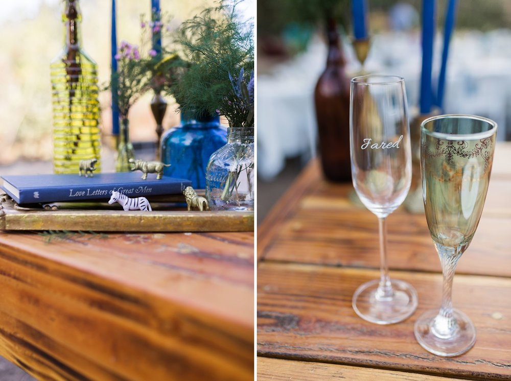 engraved champagne glasses at los angeles wedding