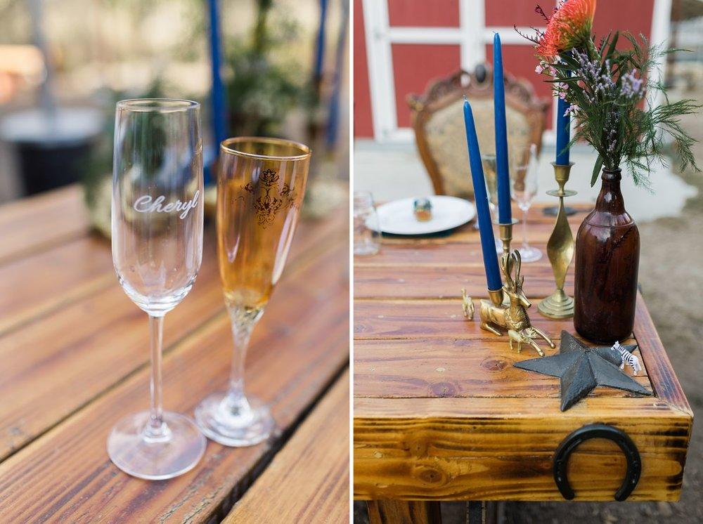 wedding champagne glasses at sylmar wedding