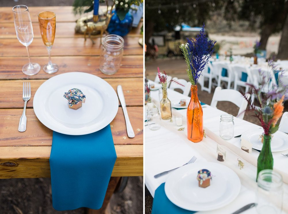 blue napkin wedding favors reception table