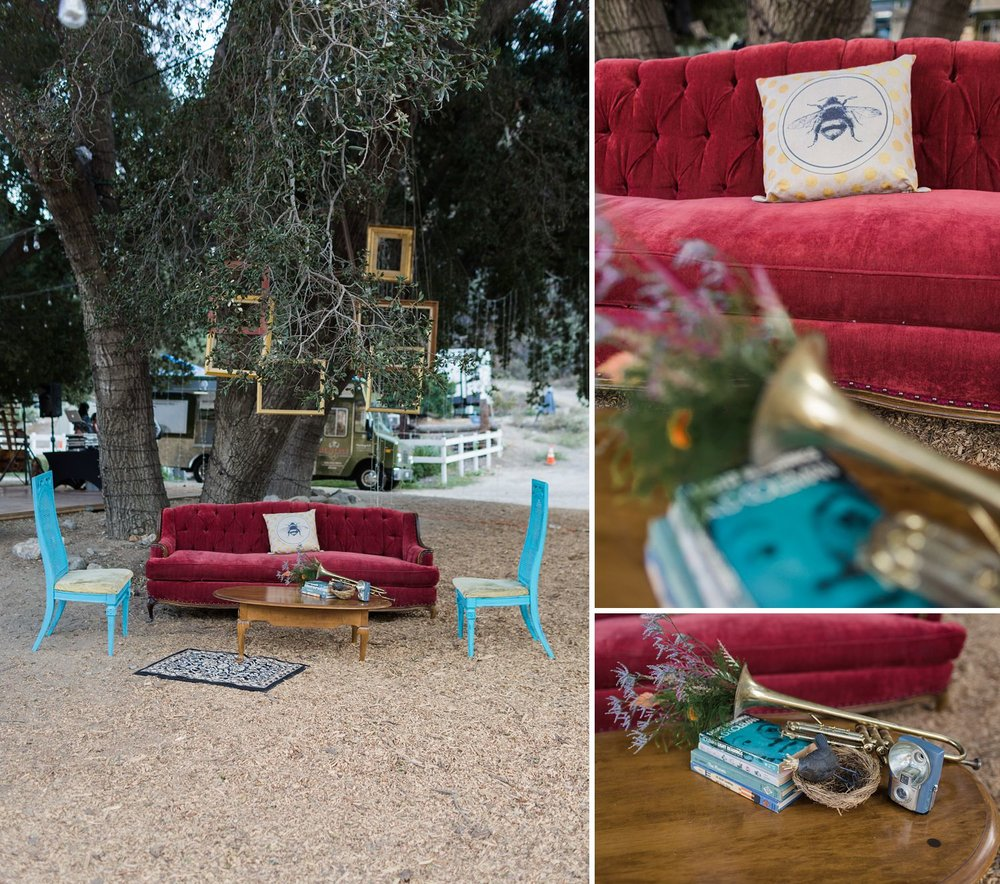 vintage red couch and frame decorations at reptacular ranch