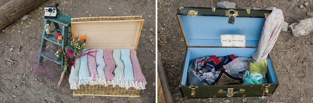 vintage suitcases for blankets and gifts los angeles wedding