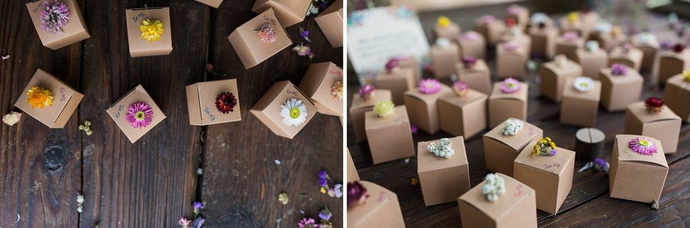 throw flowers in boxes for wedding exit
